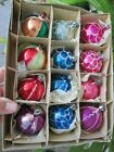 """12 Boxed Vintage Glass 1 3/4"""" Round Mica Christmas Ornaments Poland 1.75"""" Multi"""