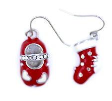Festivo desiguales rojo esmalte blanco zapato y calcetín pendientes Gran navidad
