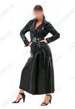 Latex Catsuit Rubber Gummi Female Fetish Wear Black Wind Coat Customized 0.4mm