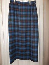 CRAZY HORSE Women's WRAP Look Pencil Skirt  Size 6 Polyester Rayon Blue Plaid