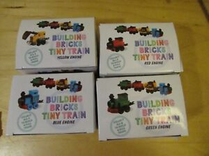 Lot of 4 Toysmith Building Bricks Tiny Train Engines Blue Red Yellow Green NEW