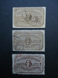 3X 19th Century US Post Office OFFICIALLY SEALED labels. Used, all different