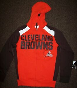 CLEVELAND BROWNS Hooded Jacket Full Zip Hoody Screened & Sewn Logos M L XL 2X