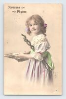 French Girl Hand Painted Happy Easter Brussels 1912 Cancel RPPC Joyeuses Paques