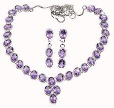 Natural Purple Amethyst Necklace Earrings SET Sterling Silver Gemstone Jewellery