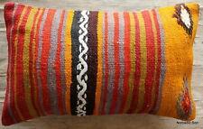(30*50cm, 12*20in) Vintage handwoven kilim cushion cover Boho stripes orange red