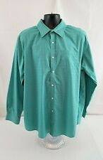 L.L. Bean Mens Button Down Shirt Traditional Fit Jade Green/White 100% Cotton