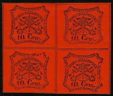 PAPAL ROMAN STATES, 10 CENT., ORANGERED PAPER, YEAR 1867, BLOCK OF 4, MINT