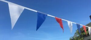 20 Flags per Length Fabric Bunting - Red White & Blue -Various Lengths