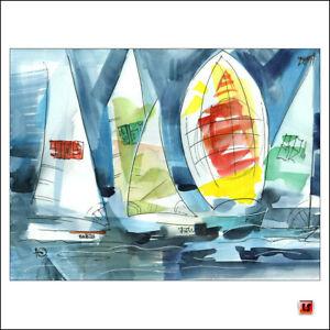 💙 ✦ ORIGINAL Aquarell handgemalt Bilder SEGELYACHT Wind Boote Regatta Boot 2881