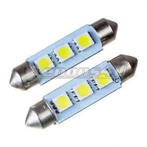 42-44mm 3 SMD LED Interior Dome Trunk Festoon Light Bulbs Canbus Error Free