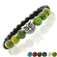 Unisex Natural Agate Stone Beads Owl Bracelets Jewelry For Men Women 12 Colors