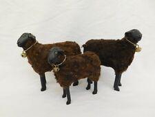 3 Vintage Brown Sheep Figurines With Bells Signed Hat