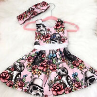 Kids Baby Girls Cartoon Star Wars Party Pageant Dress Sundress Summer Clothes UK