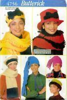 Butterick 4756 118 MISSES Francine Brown Scarves Hats Winter Pattern UNCUT FF