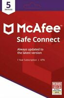 McAfee Safe Connect Premium VPN PC/Mobile Security, 5 Devices, 1 Year - Email