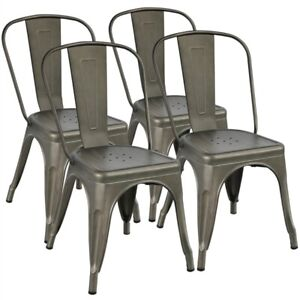 Metal Dining Chair Indoor Outdoor  Chic Dining Bistro Cafe Side Barstool 4 pcs
