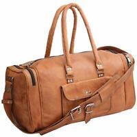 New Vintage Men Real Leather Holdall Tote Luggage Bag Travel Bag Duffel Gym Bag