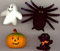 Vintage 1960 Halloween Decorations - Black Cat, Spider, Ghost, and Pumpkin