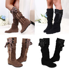 Women LadiesMid-Calf Boots High Heel Wedge Lace up Shoes Warm Winter Boots Size