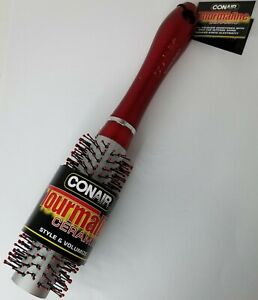 "Conair Tourmaline Ceramic Blow Out Hair Brush Red Medium #82902Z 1"" Barrel"