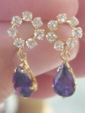 Amethyst Pear Cut And White Sapphire Stud Earrings 14kt Solid Yellow Gold