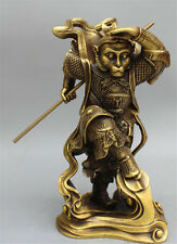 "13"" Chinese Bronze Buddhism Sun WuKong Monkey King golden cudgel Buddha Statue"