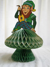 Vintage Beistle Die Cut Honeycomb St Patrick's Leprechaun Sits on Mushroom