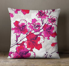 S4Sassy Floral Print Magenta Decorative Square Cushion Cover Pillow Case