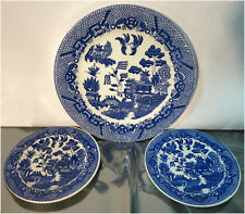 Vintage China, Ceramic Plates - Blue Willow -  JAPAN