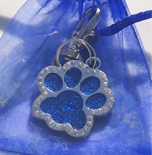 Rhinstone Paw Pet Id Laser Custom Engraved Dog Cat Tag Personalized +Free ring