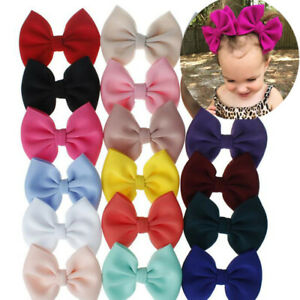 2Pcs Baby Girl Kids Hair Bow Boutique Alligator Clip Grosgrain Bowknot Hair Clip