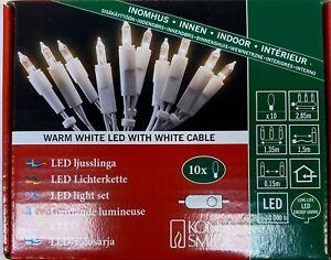 Konstsmide LED Mini-Lichterkette 10er weiß/klar mit 15 cm m.Schalter + Stecker
