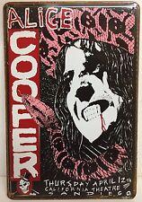 Alice Cooper SAN DIEGO vintage con placca di metallo segno arredamento studio Garage