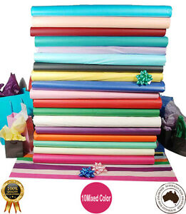 Acid Free Tissue Paper 10 MIXED COLORS  21GSM Various Sizes - Colourfast A Grade