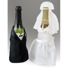 BRIDE AND GROOM WINE CHAMPAGNE BOTTLE COVERS SET OF 2 BY VICTORIA LYNN