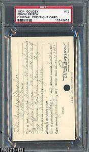 1934 Goudey #13 Frank Frisch Original Copyright Patent Proof Registration PSA