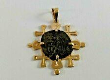 14K Mini Jerusalem Cross Pendant with Mite Coin