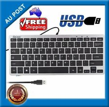 Mini Ultra Slim Silver Metallic Wired USB Keyboard Black 78 Key For Win PC MAC