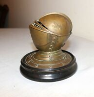 rare antique figural brass bronze knight helmet armor writing inkwell jar box