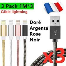CABLE POUR IPHONE XR 11 Pro Max XS 7 6 CHARGEUR USB ULTRA RÉSISTANT LOT 1M 2M