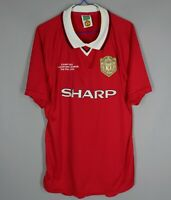 MANCHESTER UNITED 1999 SCORE DRAW REPLICA CHAMPIONS LEAGUE FOOTBALL SHIRT Sz L