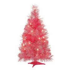 NIB: Ashland Glitter Christmas Tree Pre-Lit 24 Inches 25 Lights - Pink or White