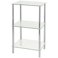 HARTLEYS CLEAR GLASS 74CM 3 TIER SHELF DISPLAY UNIT SIDE/LAMP/END/HALL TABLE