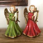 """Two Vintage 7"""" Angels Playing Harp Stars Paper Mache Rare Mint Collectible Japan"""
