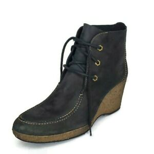 TIMBERLAND Black Leather Monogram Wallaby Lace Up Wedge Boots Women's Size 9 US