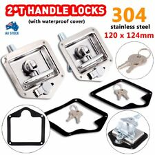 2x T Handle Locks Stainless Steel With Keys Trailer Camper Truck Tool Box Silver