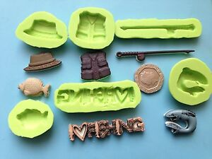 Fishing theme silicone mould set 2 - cake decorating, fimo, hobbies, sport