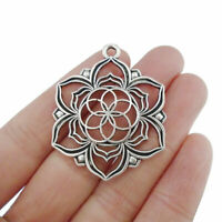 5Pcs Antique Silver Tone Large Flower Of Life Charms Pendants Jewelry Findings