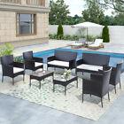 8 Pcs Rattan Patio Furniture Set Garden Lawn Sofa Set /w Cushion Seat Mix Wicker